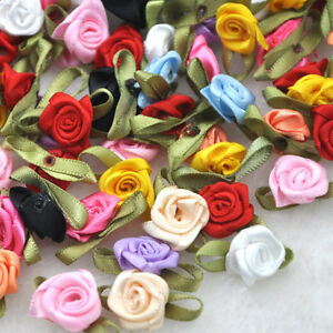 100pcs Satin Ribbon Flowers Bows Rose Sewing Wedding Appliques U pick A39