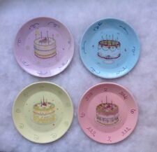 "Avon Birthday Gift Celebration Serving Cake Plates 6 1/2"" Set of Four 2003 Mib"