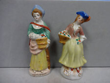 Porcelain Figurine English Ladies with Baskets Figurines Set of 2 Nice Colorful