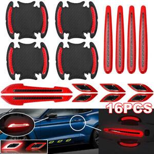 16pcs Red Car Bumper Door Handle Rearview Mirror Reflective Stickers Protector