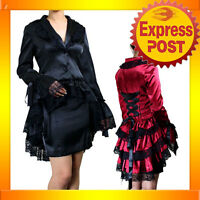 RK54 Rockabilly Gothic Punk Winter Jacket  Bustle Tail Lace Trim Black Burgundy