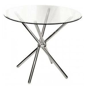 Febland Criss-Cross Round Clear Glass Dining Table Chrome Silver 90cmD X 75cmH