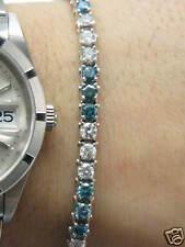 Fine Multi Color Blue & White Diamond Tennis Bracelet 14KT 5.74CT