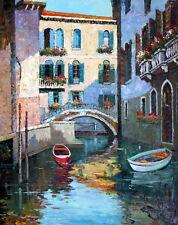 """Orig. Oil Paint """"Waterways, Venice"""" 24 x 30 in."""