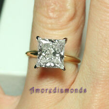3.33 ct H VS1 natural princess cut diamond solitaire engagement ring 18k gold