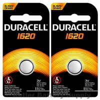 2 x 1620 Duracell Coin Cell Batteries - Lithium 3V - ( CR1620, ECR1620, DL1620 )