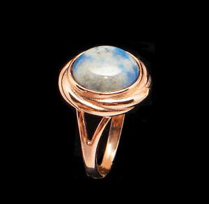 Blue Lapis Lazuli 14k Rose Gold Filled Large Round Ring  9 R Russian