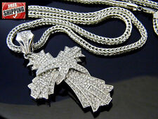 Crucifix Hip Hop Iced Out Silver Cross Jesus Pendant Franco Chain Necklace