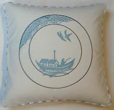 Indian Embroidered Cushion Cover in Blues by Anderson Castle Design