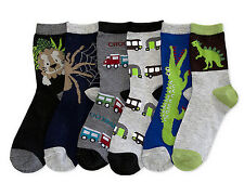 6 Pairs Boys Crew Socks 2T 3T Size 2-3 Assorted Dino Crocodile Spider Trucks Etc