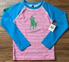 🐞 POLO RALPH LAUREN Girls Pink Stripe Raglan Rash Guard Size 6x / NWT *GG
