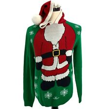 Ugly Christmas Sweater Men's Size M Jolly Green Santa Claus Hooded X-Mas Costume