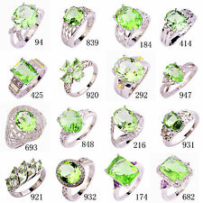 25 Style Fashion Topaz Jewelry Green Amethy Gemstone Silver Party Ring Size 6-13
