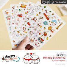 Molang Sticker V3 Stickers Kawaii Deco Weekly Kit New Summer Home Craft 6 sheets