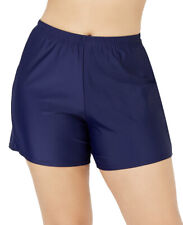 ISLAND ESCAPE Women's Swim Shorts Plus Size 18W Navy Blue Swimwear Bottoms