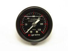 Grams Fuel Pressure Regulator Gauge Black Face 0-120 psi Marshall Universal NEW