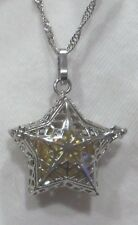 "Pearl Necklace Yellow Coin Pearl in XL Silver Star Pendant/16"" SP Chain NWOT"