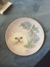 Hamilton Collection Forget-Me-Not Petals And Purrs Collectors Plate