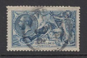 KGV 10s. Blue SG412 SEAHORSES George V 1915 Used 10/- De La Rue Stamp