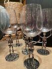 New Pottery Barn Walking Dead Skeleton Wine Glass Silver Metal Halloween Spooky