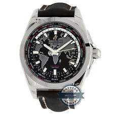 Breitling Galactic Unitime WB3510U4/BD94 Auto Steel World Map Mens Strap Watch