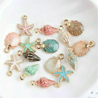 13 Pcs/Set Mixed Starfish Conch Shell Metal Charms Pendant DIY Jewelry Making JP