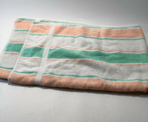 Bath Towel Peach & Green Stripes