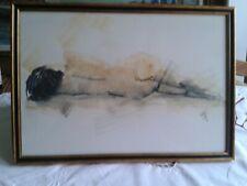NU ALLONGé DE DOS: dessin érotique aquarellé, XXème, signé, encadré sous verre