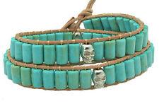 Unisex Silver Skull Leather Double Wrap Bracelet Beaded Turquoise NEW