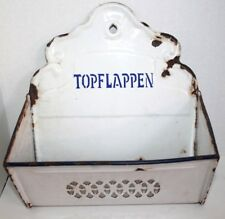 Antique Graniteware Bin Wall Holder Topflappen-Pot Holder Enamelware German OLD