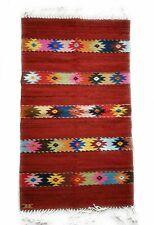 Zapotec Oaxacan Hand Woven Geometric Floor Mat Rug Reversible