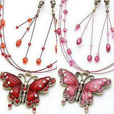 ICON RED or PINK ACRYLIC BUTTERFLY CLEAR CRYSTAL NECKLACE EARRINGS JEWELRY SET