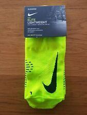Nike Elite Running imbottita Trimestre Calzini Dri Fit-Volt Nero UK3-4.5//5-6.5