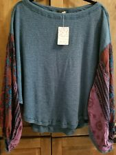 FREE PEOPLE WE THE FREE BLOSSOM THERMAL TEAL SIZE S NWT