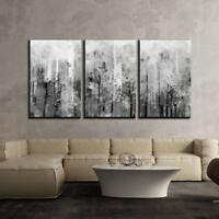 "Wall26 - Abstract Black and White Splash Artwork - Canvas - 16""x24""x 3 Panels"