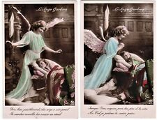 Guardian Angel Girl, Child in cradle & WHIPPET DOG - LOT of 2 original 1909 RPPC