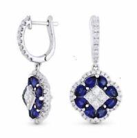925 Silver Citrine Gemstone Hoop Dangle Drop Women White Topaz Earrings Jewelry