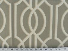 Drapery Upholstery Fabric 100% Cotton Geometric Art Deco Print - Taupey Gray