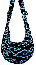 Sac Bandouliere Ethnique Sac à Main Coton Besace Ethnik Bag spirale noir bleu