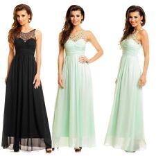 langes Abendkleid mit Spitze & Steinchen Abiballkleid Cocktail Empire Kleid 3010
