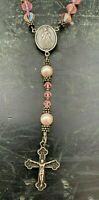 Beautiful SWAROVSKI Crystal bead PEARL & Sterling Silver CATHOLIC ROSARY Pink