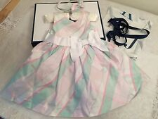 Janie & Jack 100% silk special occasion dress w/matching head band, bloomers NWT