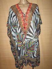 Embellished Digital Print KAFTAN beach boho Lace up TOP One size (14-22 best)