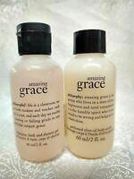 Philosophy AMAZING GRACE 3in1 Shower Gel & Olive Oil Body Scrub Set 2oz NEW GIFT