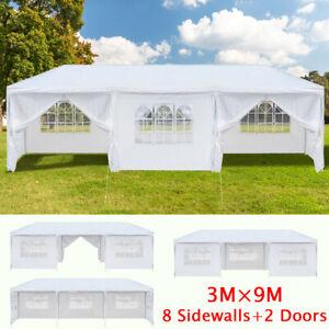 3x9M Waterproof Gazebo Tent w/ 8 Removable Side Panels Heavy Duty Large Shelter