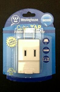 10 X 3-Outlet Polarized Cube Tap-UL Listed-Fits Large Plugs-Indoor Use