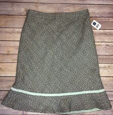 New Women's GAP Wool Blend Skirt Gray Mint Green Size 2 NWTS