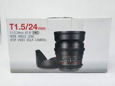 Samyang 24mm T/1.5 Cine Manual Focus Wide Angle Lens for Video DSLR Sony Camera