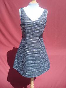 NWT BCBG White Blue Black Gold Cotton Acrylic Faux leather Pinefore Dress Sz 8