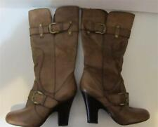"""ARTURO CHIANG~Brown~Leather~16.5"""" High Dress Boot~4.5"""" Heel~Side Zip~Size 10M."""